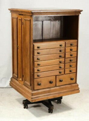586 Early Antique American Collectors Cabinet /  Revolving Bookcase