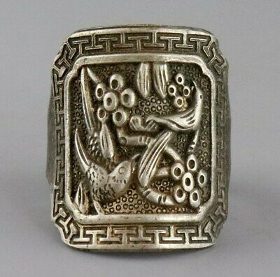 Collectable Antique Tibet Silver Hand Carve Birds & Flower Delicate Noble Ring