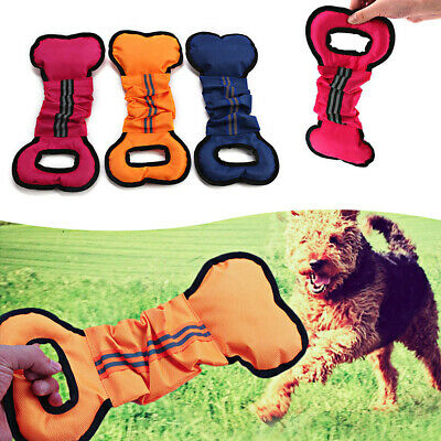 Pet Dog Toys Chewers Interactive Pull Chew Toy  Bone Shape Canvas  Durable h8