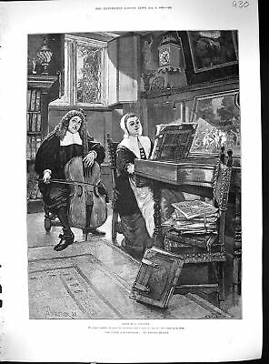 Antique Old Print 1888 Man Lady Playing Music Instruments Besant Forestier 19th