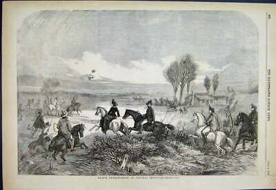 Original Old Antique Print 1856 Magpie Hawking Horses Country Scene Sketch 19th
