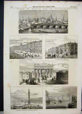 Old Antique Print 1856 Moscow Kremlin Summer Palace Triumphal Arch Quay 19th