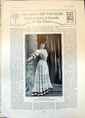 Original Old Antique Print White Cloth Gown Pretty Tea Gown Afternoon Gown 1905