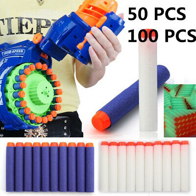 100Pcs Gun Soft Refill Bullets Darts Round Head Blaster Nerf N-strike Kid Toy UK