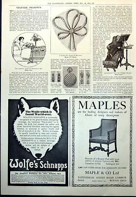 Old Print Carrier Table Breakfast Bed Adjustable Chair Corsage Watch 1912 20th