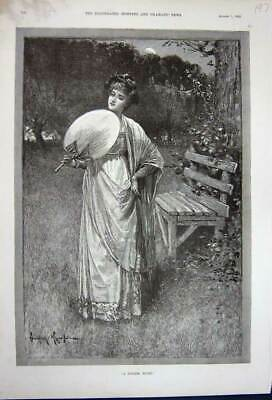 Original Old Antique Print 1891 Fine Art Beautiful Lady Country Flowers Trees