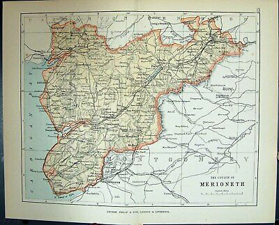 Original Old Antique Print County Merioneth Corwen Wales Philips Map 1882 19th