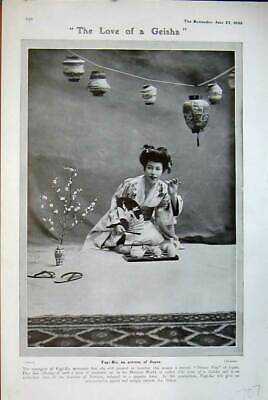 Old Antique Print 1906 Love Geisha Girl Fug-Ko Actress Japan Theatre Lady 20th