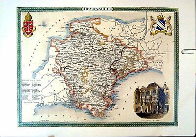 Original Old Vintage Print 1990 Map England County Devonshire Guildhall Exeter