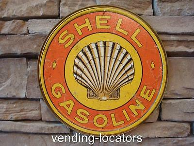 """SHELL GASOLINE clam 12"""" round sign vintage gas & oil pump plate service station"""