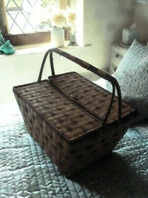 Vintage BASKET with Handles - Storage / Sewing / Shopping / Picnic 1920s 1930s