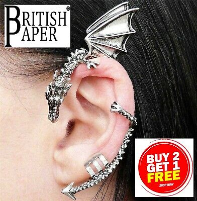 New Dragon Ear Cuff Silver Gold Fake Earring Clip On Punk Stud Wrap Snake Gothic