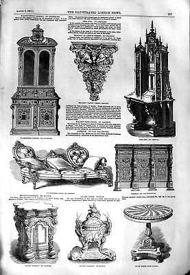 Original Old Antique Print 1851 Walnut-Wood Cabinet Furniture Couch Pr Victorian
