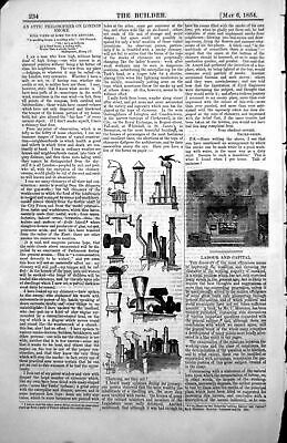 Antique Old Print Fireplace Smoking Fire Chimneys Pots Various Shapes 1854 19th