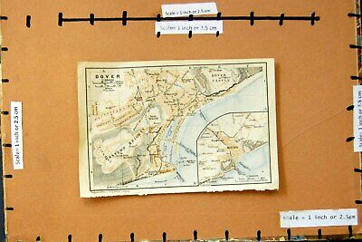 Original Old Antique Print 1906 Map Street Plan Town Dover England Castle 20th