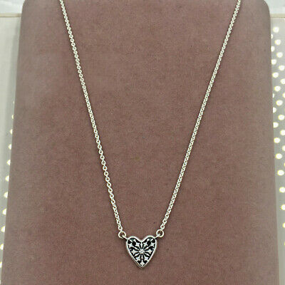 917babcec Authentic 100% 925 Sterling Silver Small Heart of Winter CZ Necklace 45cm/ 17.7