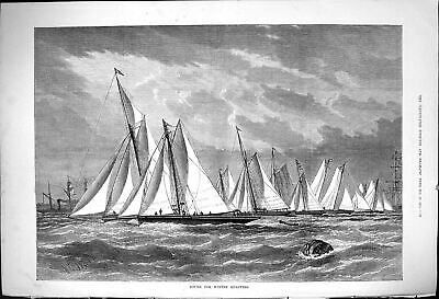 Antique Old Print 1875 Bound For Winter Quarters Sport Sailing Yachts Boats