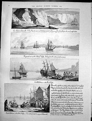 Original Old Antique Print Bay Yarmouth Sands Isle Wight Cowes Harbour 1891