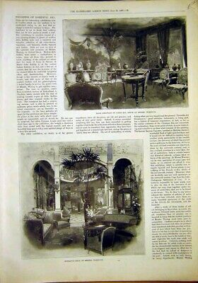 Old Antique Print Warings Residence Building Sheraton Tudor D ?Cor 1897 19th