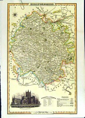 Original Old Antique Print C2000 Map England County Herefordshire Cathedral