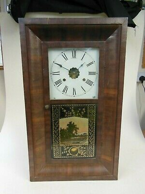 New Haven Clock Co. 30 Hour Wood Cased Wall Clock