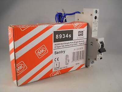 MK RCBO 16 Amp 30mA Type C 16A Sentry C16 08934S 8934S NEW