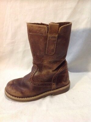 Girls John Lewis Brown Leather Boots Size 27