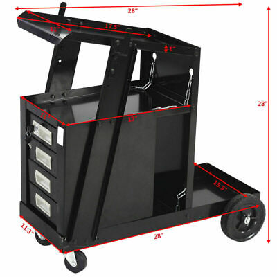 4 Drawer Cabinet Welding Welder Cart Plasma Cutter Tank Storage MIG TIG ARC New