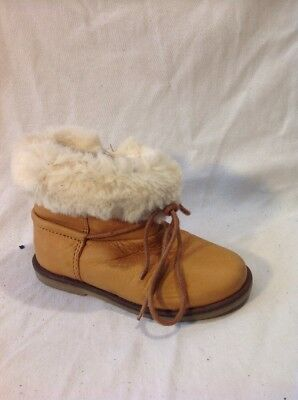 Girls Zara Brown Leather Boots Size 23