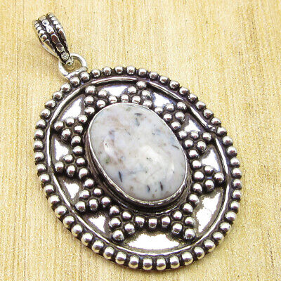 "925 Silver Plated High End Dendritic Agate TIBETAN Pendant 1.7"" WHOLESALE PRICE"