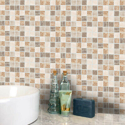 PVC Mosaic Tile Sticker Transfers Stone Kitchen Bathroom Peel And Stick 10*10cm