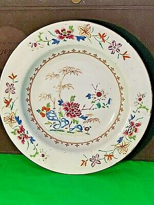 Chinese Antique 18th Porcelain Famille Rose Plate Dish with Flowers Enamels Gold