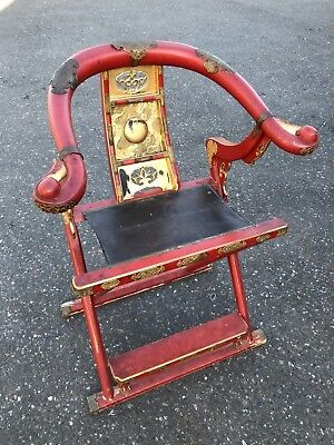 Emperor Carved Horseshoe Back Folding Arm Brass Hunting Chair 1900