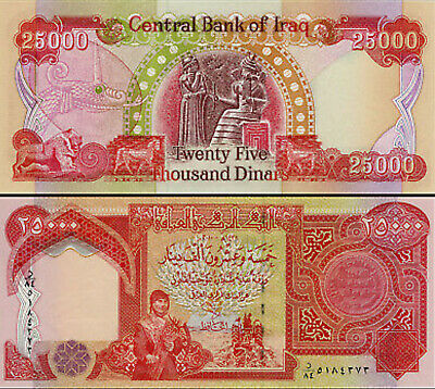 100,000 - 4 x Iraqi Dinar 25,000 notes - 100000 IRAQ DINAR UNC