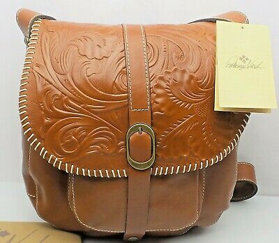 Patricia Nash BARCELLONA Tooled Leather Saddle Bag Crossbody Florence $199 NEW