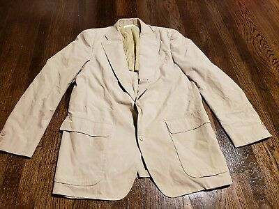 Brooks Brothers Men's S Blazer 3 Button Beige Tan Khaki Cotton Sport Jacket USA