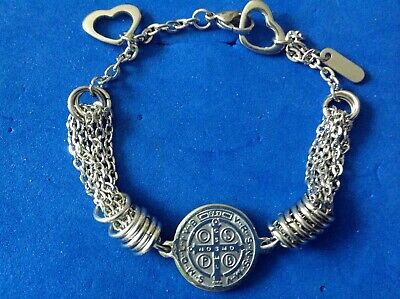 Stainless Steel Saint Bracelet ST BENEDICT Protection Saint Medal Two Sided ❤️