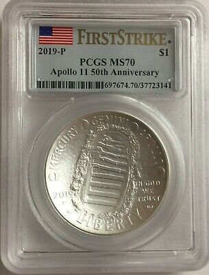 2019-P PCGS MS70 1oz APOLLO SILVER DOLLAR .999 FIRST STRIKE FLAG MS 70