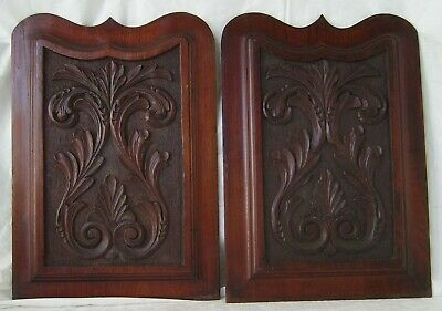 Antique Pair Decorative Solid Wood Carved Wood Panels