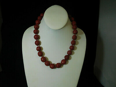 Vintage Chinese Cinnabar Red Lacquer Hand Carved Beaded Necklace  20""