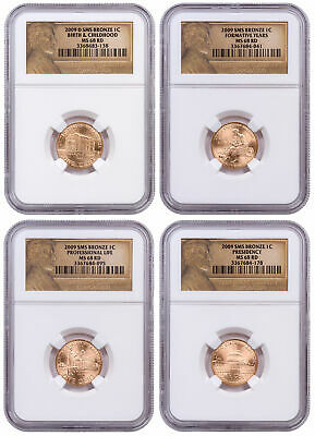 Set of 4 2009 SMS Bronze Lincoln Bicentennial Cent NGC MS68 RD Lincoln SKU57834
