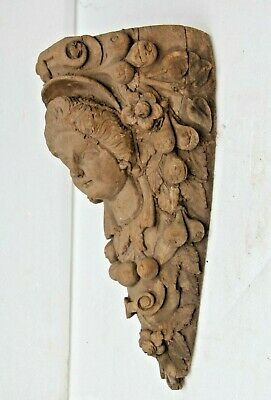 *new In* Hand Carved Gothic Fancy Lady Face Architectural Wood Sculpture Bracket