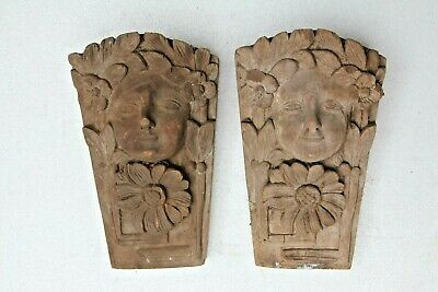 *new In* Pair Of Beautiful Hand Carved Lady Gothic Wood Fancy Sculpture Brackets