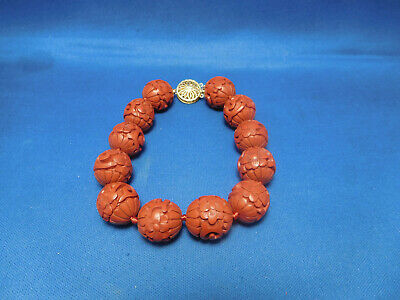 Vintage Chinese Cinnabar Red Lacquer Hand Carved Beaded Bracelet 14k Clasp 8.5""
