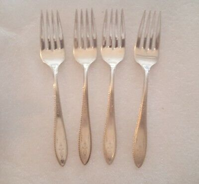 1847 Rogers Bros Argosy 4 Piece Salad Forks Flatware Silverplate