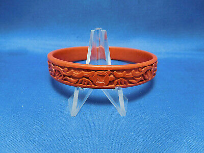 Vintage Chinese Cinnabar Red Lacquer Hand Carved Bangle Bracelet