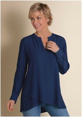 683baf2170d Soft Surroundings Womens Asymmetrical Tunic Large L Shirt Top Navy Pullover  Wow