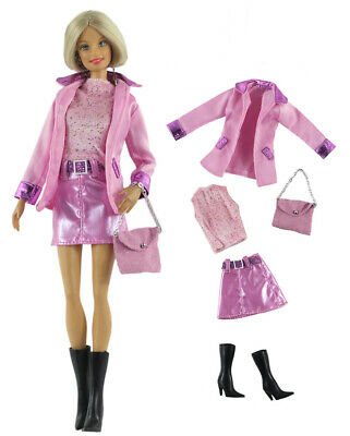 5 PCS Set Fashion Outfit Coat+vest+skirt+bag+boots FOR 11 in. Doll Clothes