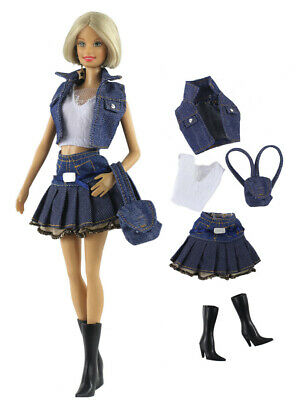 5 PCS Set Fashion Outfit Top+vest+skirt+bag+boots FOR 11 in. Doll Clothes #01