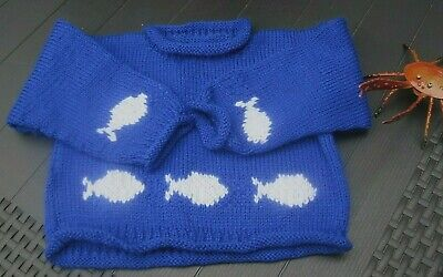 Hand Knitted Fish Jumper With A Whale And Giant Squid Toy. Age 1-2 Years.